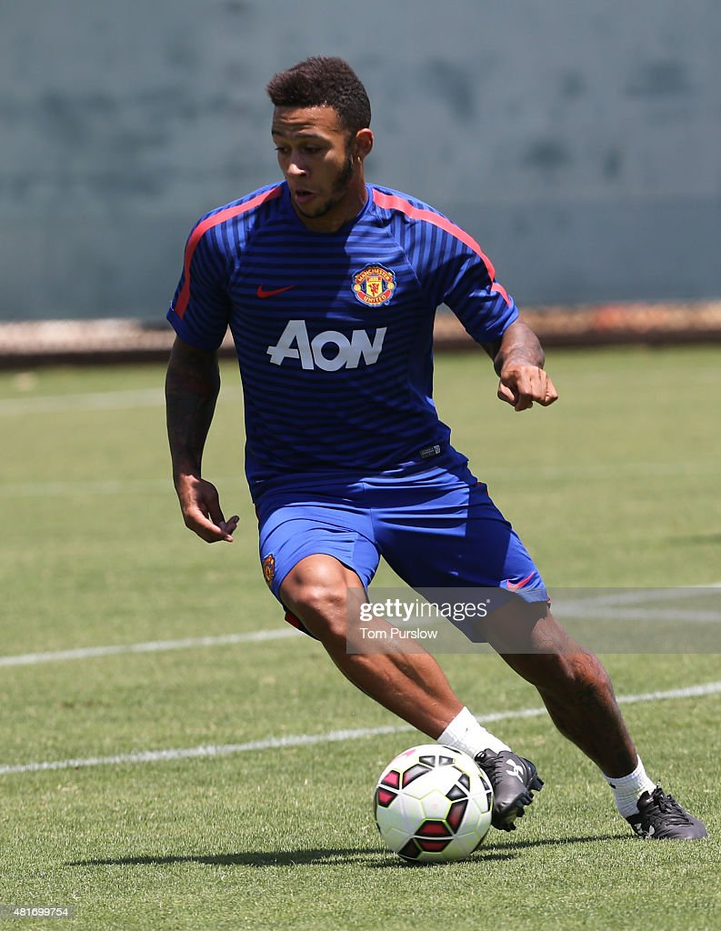 Memphis depay of manchester united in action during a first team