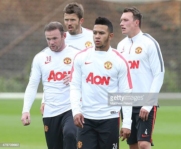Memphis Depay of Manchester United in action during a first team training session at Aon Training Complex on July 6 2015 in Manchester England