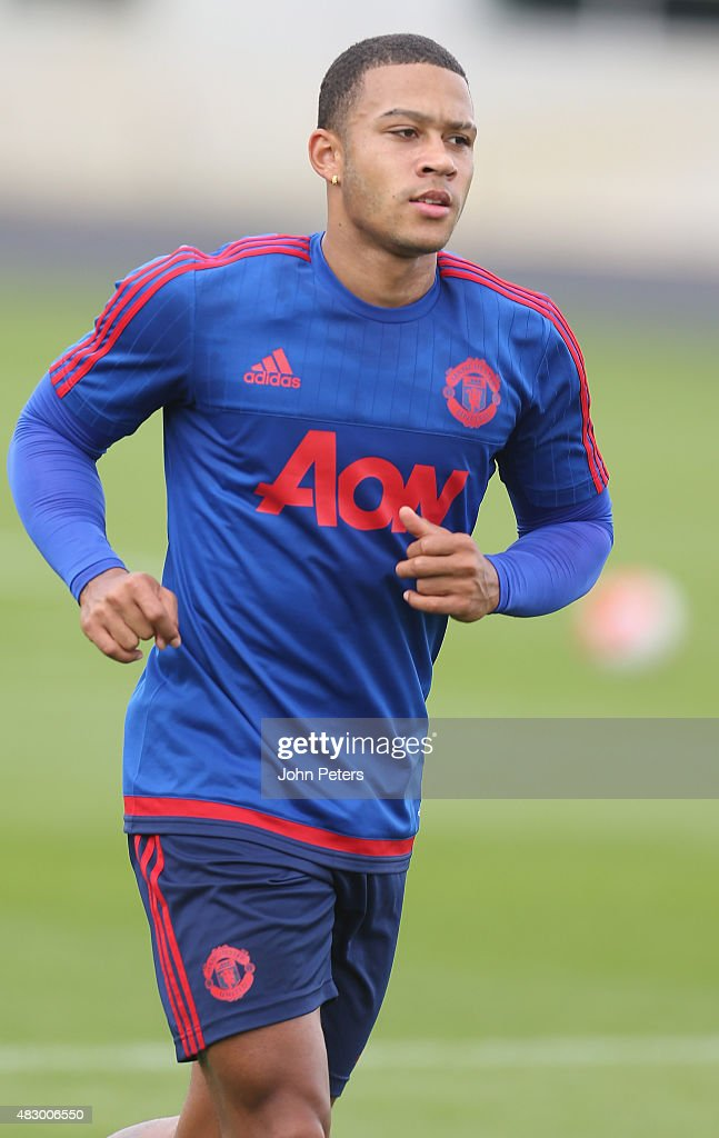 Memphis Depay of Manchester United in action during a first team training session at Aon Training Complex on August 5 2015 in Manchester England