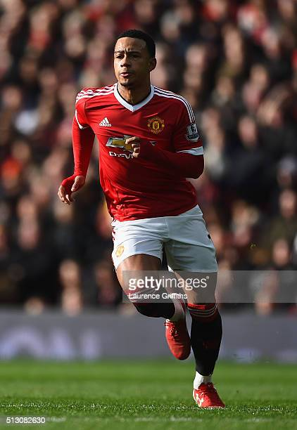 Memphis Depay of Manchester United in action during the Barclays Premier League match between Manchester United and Arsenal at Old Trafford Stadium...