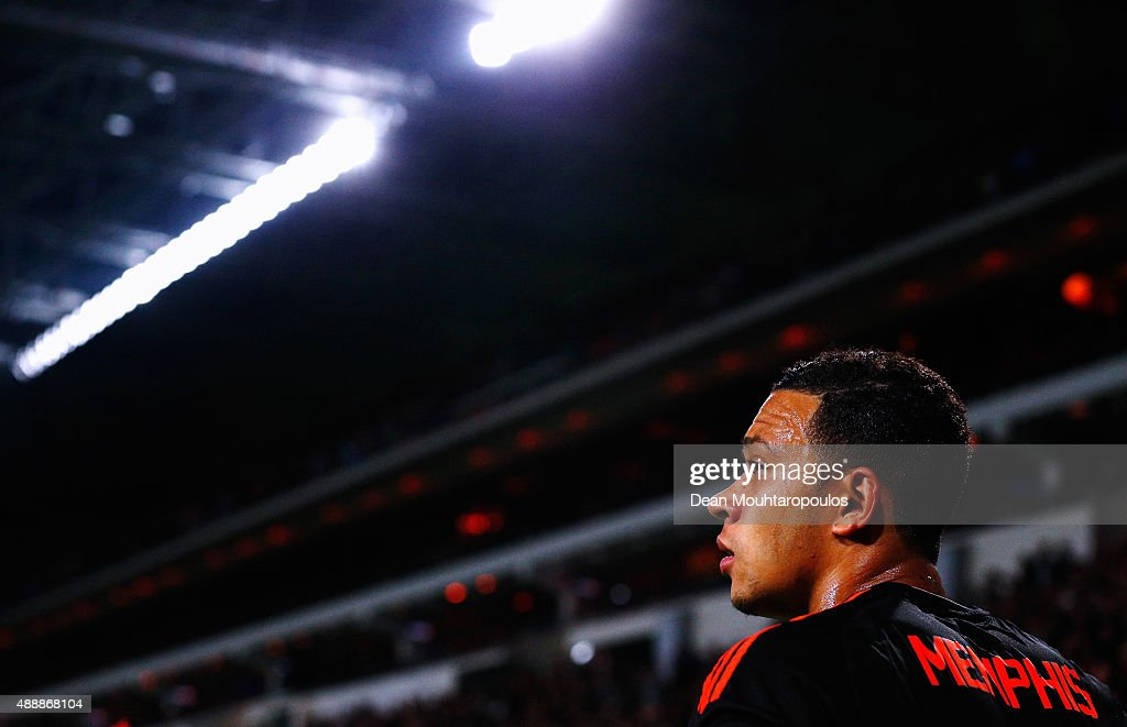 Memphis Depay of Manchester United looks on during the UEFA Champions League Group B match between PSV Eindhoven and Manchester United at PSV Stadion...