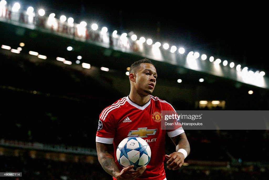 Memphis Depay of Manchester United looks on during the UEFA Champions League Group B match between Manchester United FC and VfL Wolfsburg at Old Trafford on September 30, 2015 in Manchester, United Kingdom.