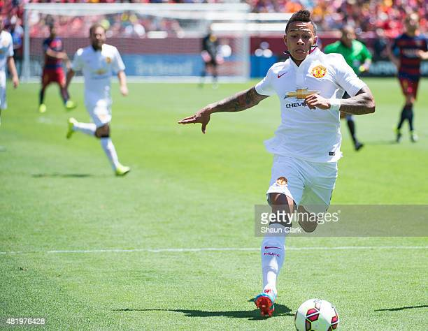Memphis Depay of Manchester United races into the box during the International Champions Cup 2015 match between FC Barcelona and Manchester United at...