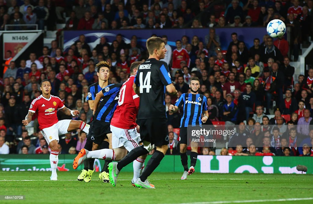 Memphis Depay of Manchester United scores his team's second goal during the UEFA Champions League Qualifying Round Play Off First Leg match between...