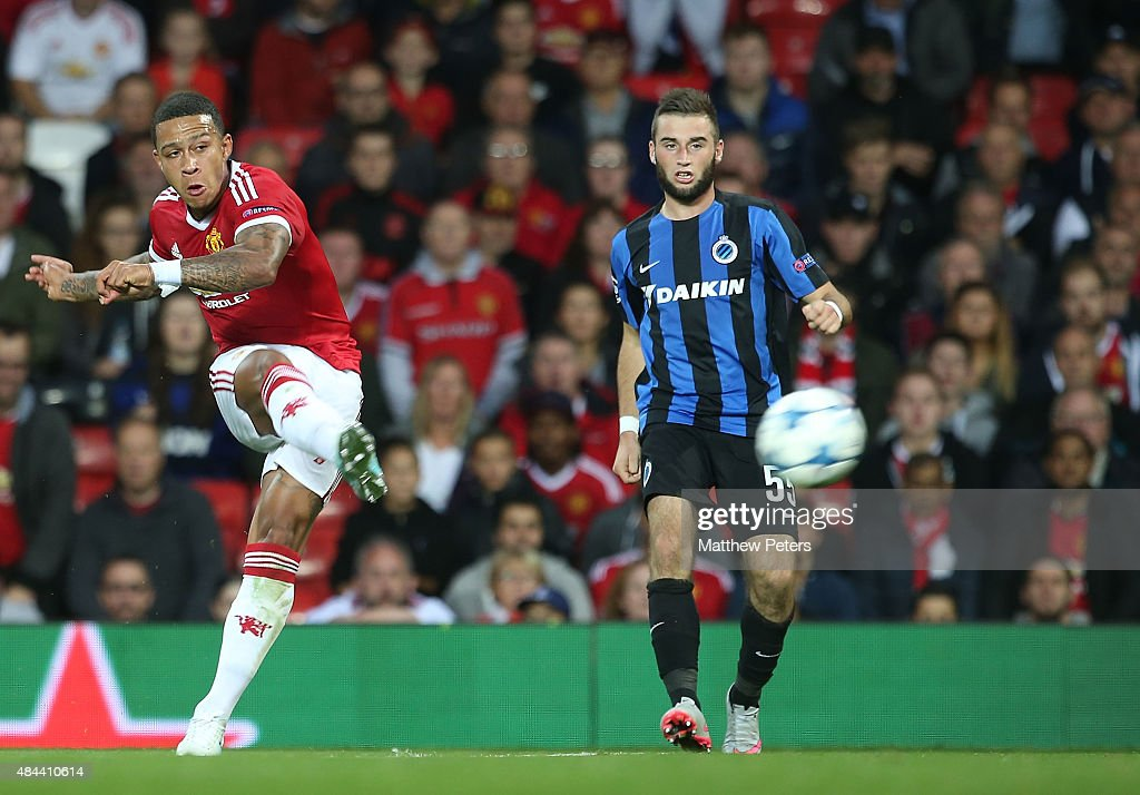 Memphis Depay of Manchester United scores their second goal during the UEFA Champions League playoff first leg match between Manchester United and...