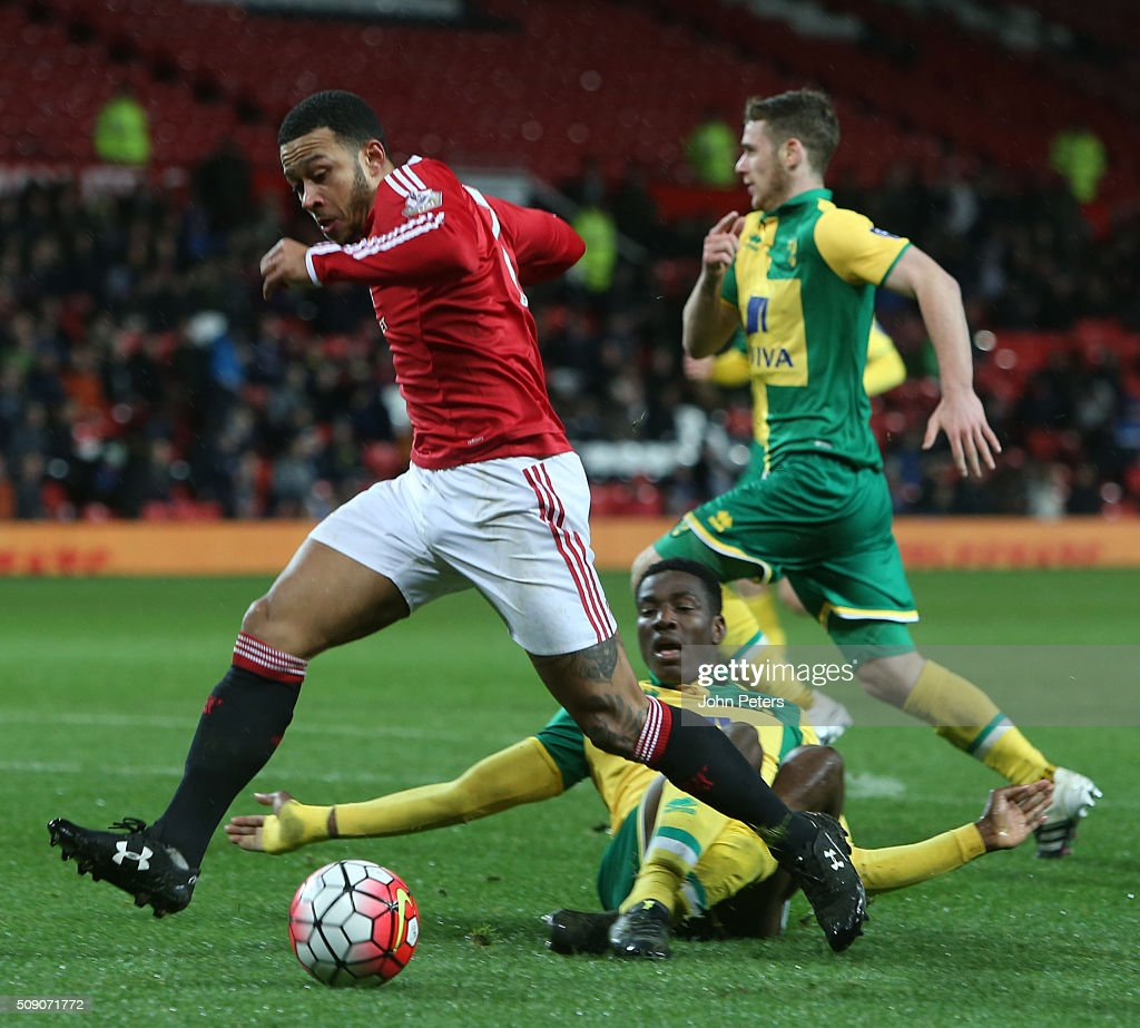 <a gi-track='captionPersonalityLinkClicked' href=/galleries/search?phrase=Memphis+Depay&family=editorial&specificpeople=7189987 ng-click='$event.stopPropagation()'>Memphis Depay</a> of Manchester United U21s in action during the U21 Premier League match between Manchester United U21s and Norwich City U21s at Old Trafford on February 8, 2016 in Manchester, England.