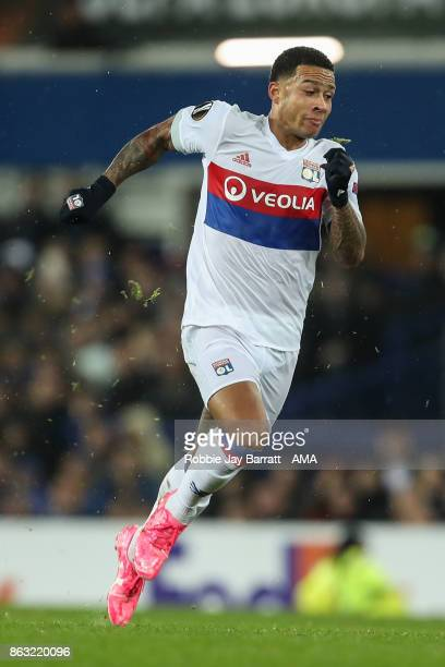 Memphis Depay of Olympique Lyonnais during the UEFA Europa League group E match between Everton FC and Olympique Lyon at Goodison Park on October 19...