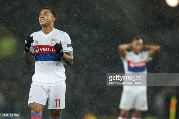 Memphis Depay of Olympique Lyonnais reacts during the UEFA Europa League group E match between Everton FC and Olympique Lyon at Goodison Park on...