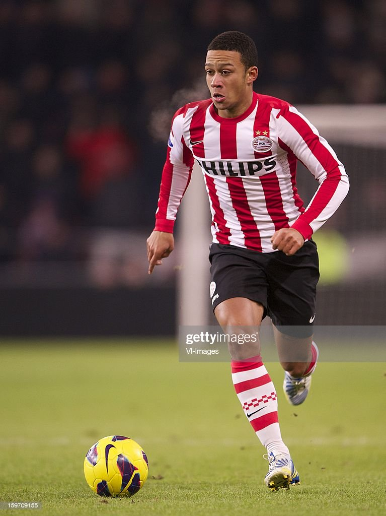 Memphis Depay of PSV during the Dutch Eredivise match between PSV and PEC Zwolle at the Philips Stadium on January 18, 2013 in Eindhoven, The Netherlands.