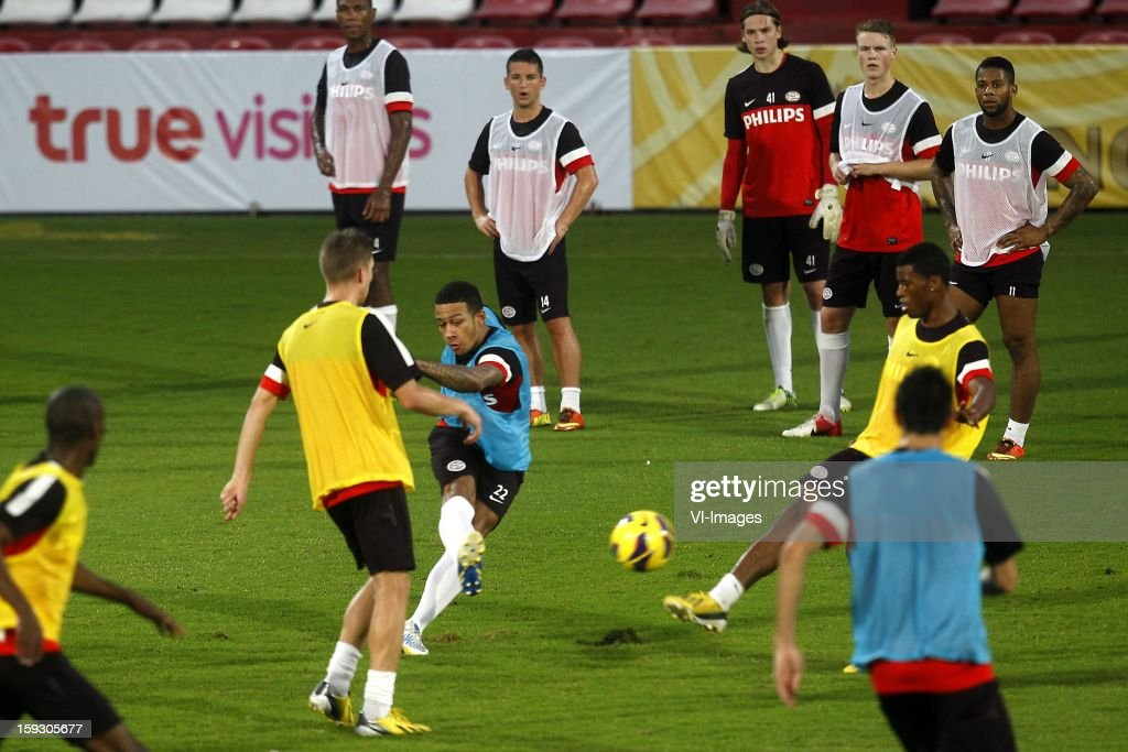 Memphis Depay of PSV (C) during the training camp of PSV Eindhoven on January 10, 2013 at Muanghtongh, Thailand.