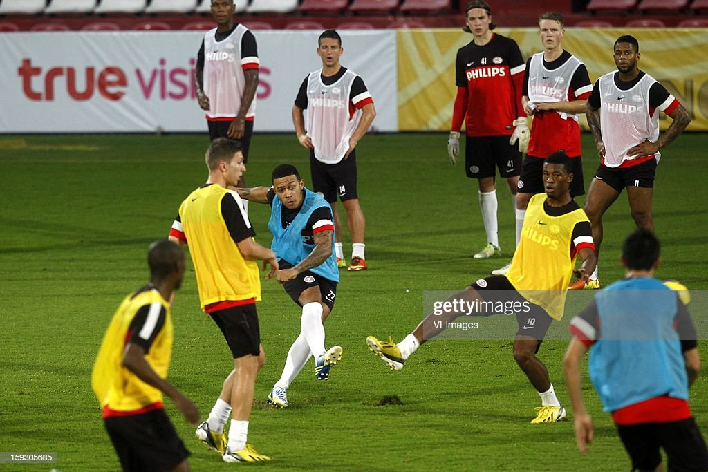 Memphis Depay of PSV (C), Georginio Wijnaldum of PSV (R) during the training camp of PSV Eindhoven on January 10, 2013 at Muanghtongh, Thailand.