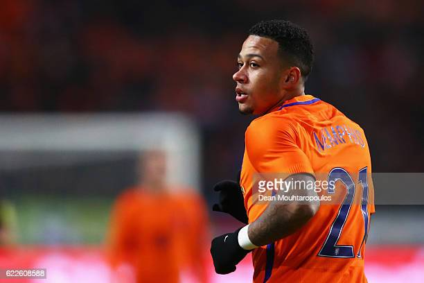 Memphis Depay of the Netherlands in action during the international friendly match between Netherlands and Belgium at Amsterdam Arena on November 9...