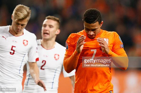 Memphis Depay of the Netherlands reacts during the UEFA EURO 2016 qualifying Group A match between the Netherlands and the Czech Republic at...