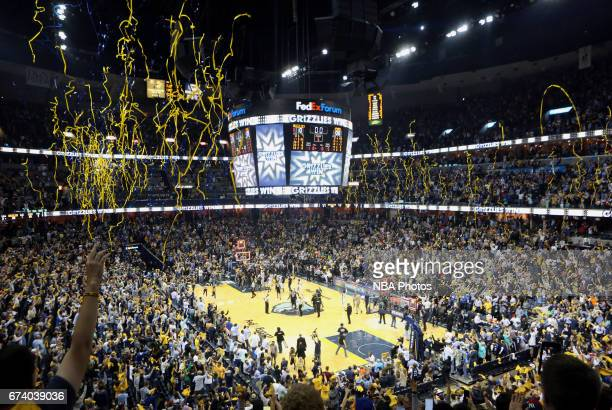 Memphis Grizzlies fans cheer for their team in Game Four of the Eastern Conference Quarterfinals against the San Antonio Spurs during the 2017 NBA...