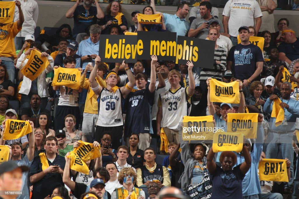Memphis Grizzlies fans get into the game against the Los Angeles Clippers in Game Four of the Western Conference Quarterfinals during the 2013 NBA Playoffs on April 27, 2013 at FedExForum in Memphis, Tennessee.