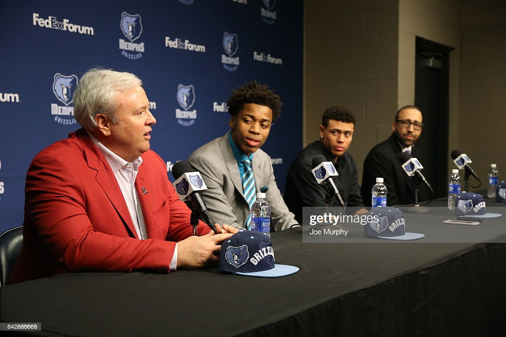 Memphis Grizzlies general manager Chris Wallace, Deyonta Davis, Wade Baldwin IV and head coach David Fizdale of the Memphis Grizzlies address the media during a press conference on June 24, 2016 at FedExForum in Memphis, Tennessee.