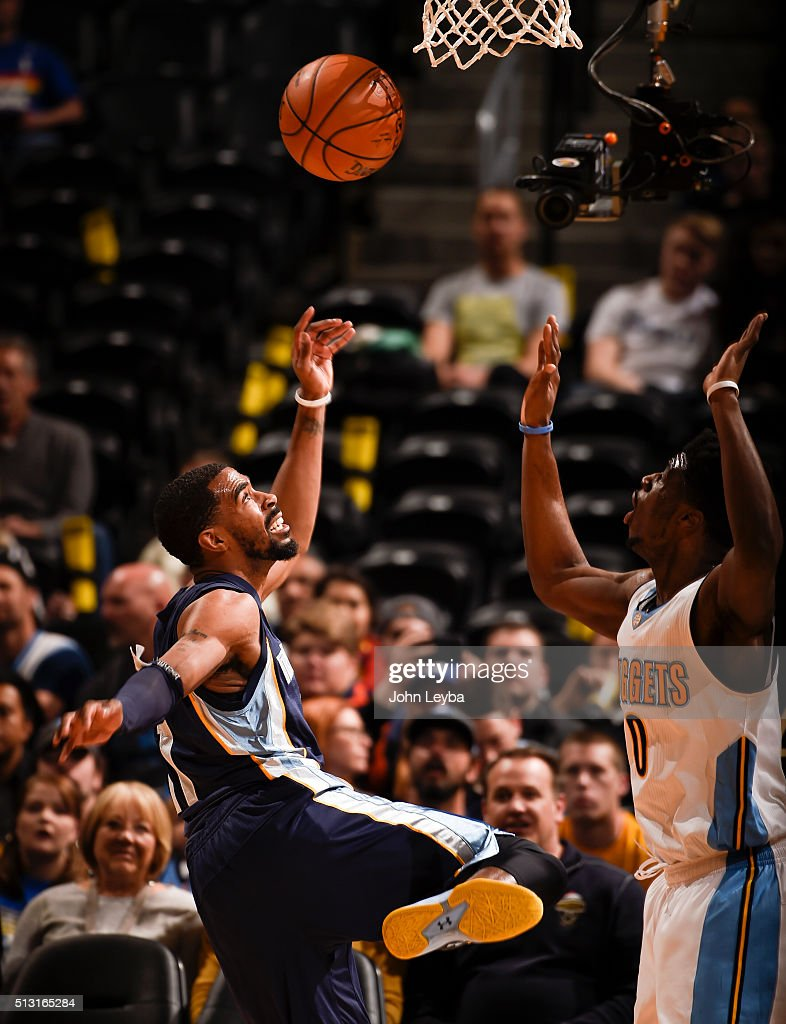 Memphis Grizzlies guard Mike Conley (11) loses the ball in front of Denver Nuggets guard <a gi-track='captionPersonalityLinkClicked' href=/galleries/search?phrase=Emmanuel+Mudiay&family=editorial&specificpeople=9510824 ng-click='$event.stopPropagation()'>Emmanuel Mudiay</a> (0) February 29, 2016 at Pepsi Center.