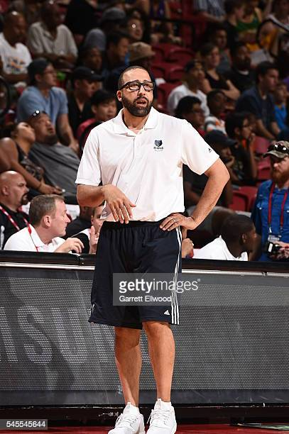 Memphis Grizzlies head coach David Fizdale looks on against the NBA DLeague Select during the 2016 NBA Las Vegas Summer League game on July 8 2016 at...