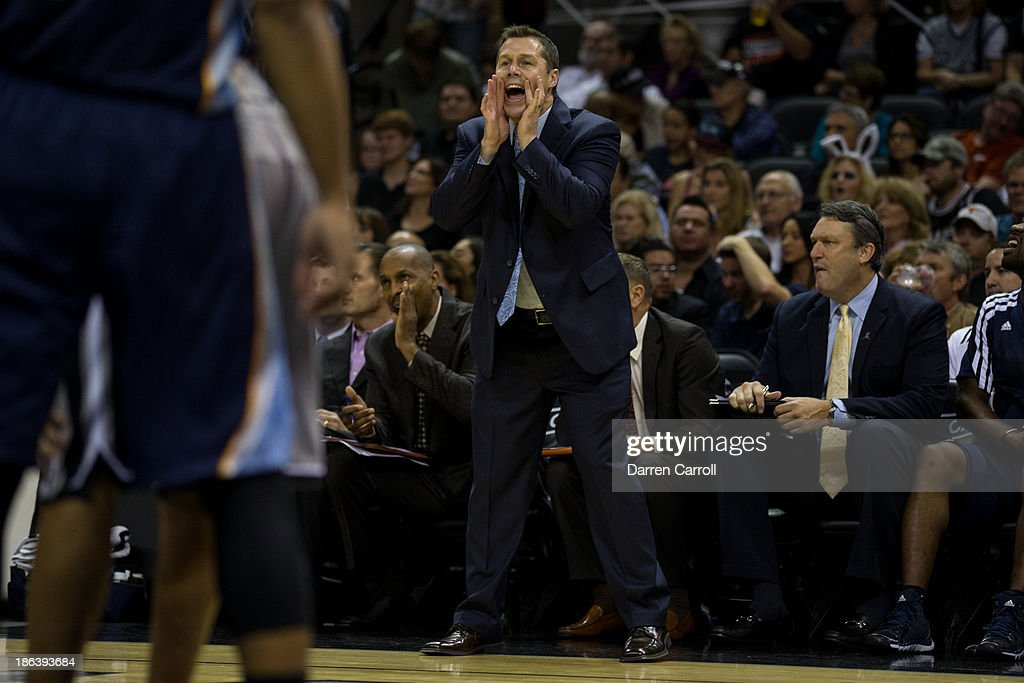 Memphis Grizzlies head coach David Joerger watches play during a game against the San Antonio Spurs on October 30, 2013 at the AT&T Center in San Antonio, Texas.