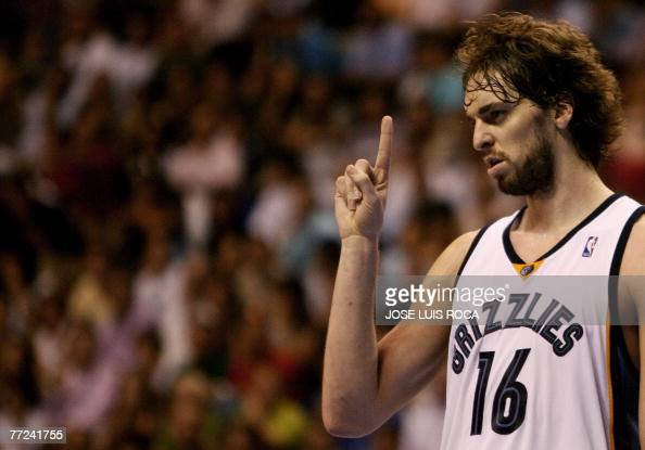 NBA Memphis Grizzlies' Pau Gasol gestures during the Basketball match against Unicaja at Martin Carpena Stadium in Malaga southern Spain 09 October...