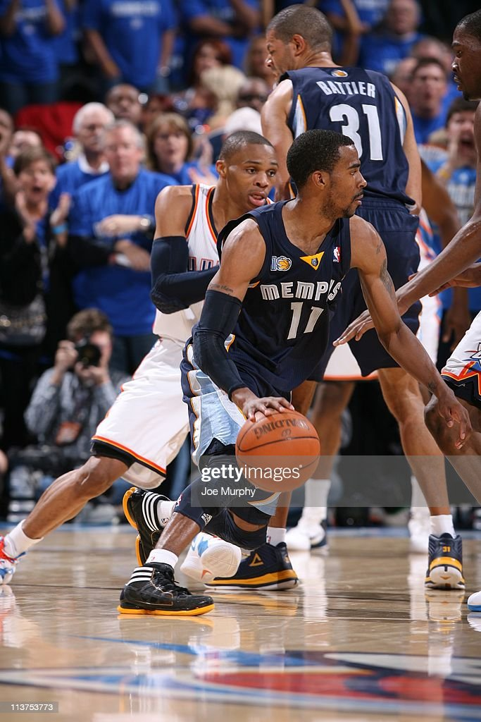 Memphis Grizzlies point guard Mike Conley #11 drives to the basket in Game one of the Western Conference Semifinals against the Oklahoma City Thunder in the 2011 NBA Playoffs on May 1, 2011 at Oklahoma City Arena in Oklahoma City, Oklahoma. The Grizzlies won 114-101.