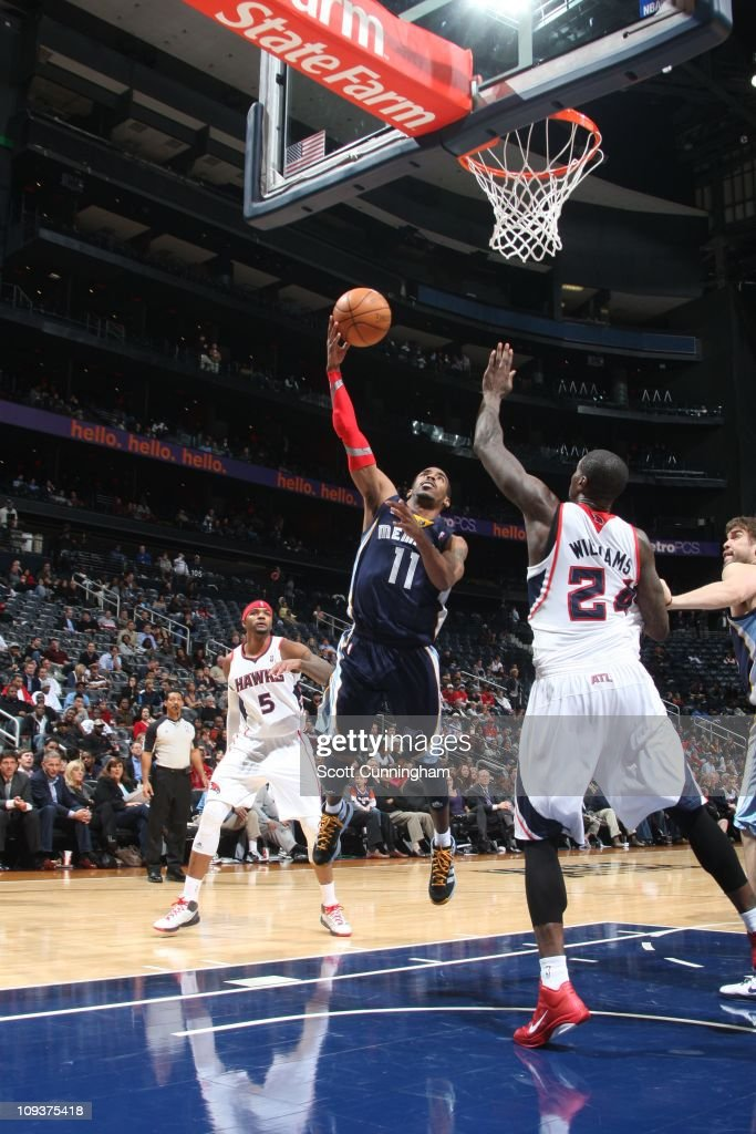 Memphis Grizzlies point guard Mike Conley goes to the basket during the game against the Atlanta Hawks on December 1 2010 at Philips Arena in Atlanta...