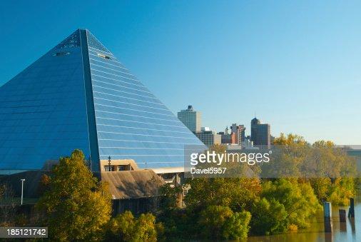 Memphis skyline and pyramid closeup