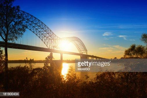 'Memphis, Sunset over the Mississippi River'