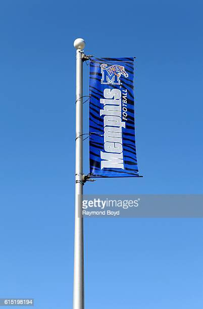 Memphis Tigers banner flies outside Liberty Bowl Memorial Stadium home of the Memphis Tigers football team in Memphis Tennessee on October 3 2016