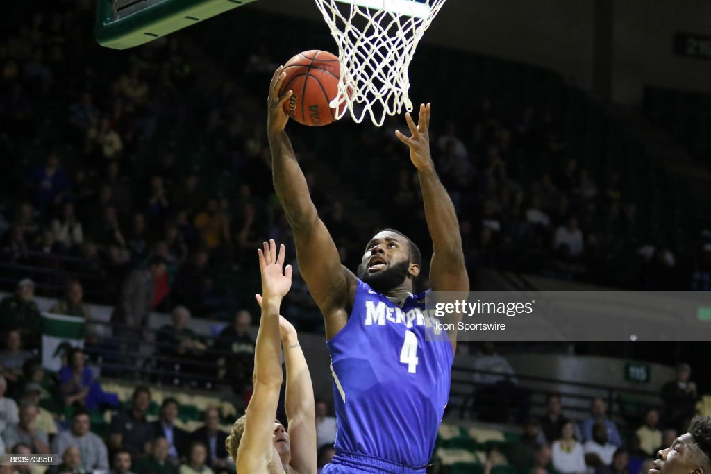 Memphis Tigers forward Raynere Thornton (4) goes up for a basket in the game between the Memphis Tigers and the UAB Blazers on November 30, 2017 at Bartow Arena in Birmingham, Alabama.