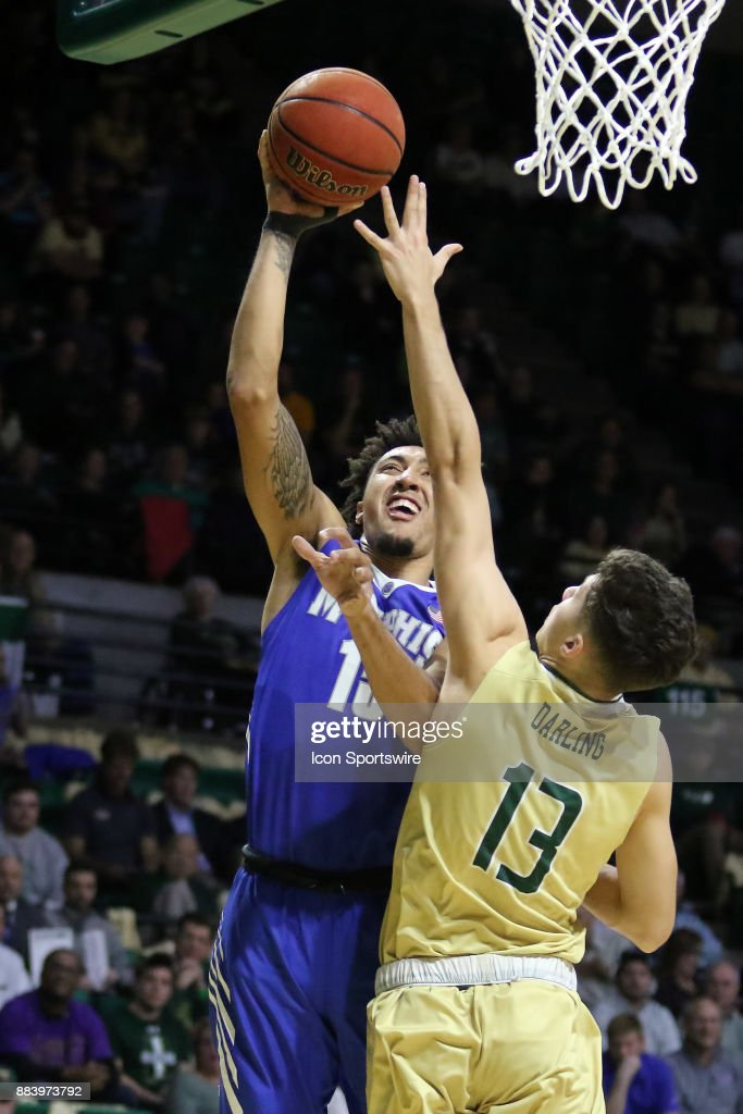 Memphis Tigers guard David Nickelberry (15) takes a shot over UAB Blazers guard Nate Darling (13) during the game between the Memphis Tigers and the UAB Blazers on November 30, 2017 at Bartow Arena in Birmingham, Alabama.