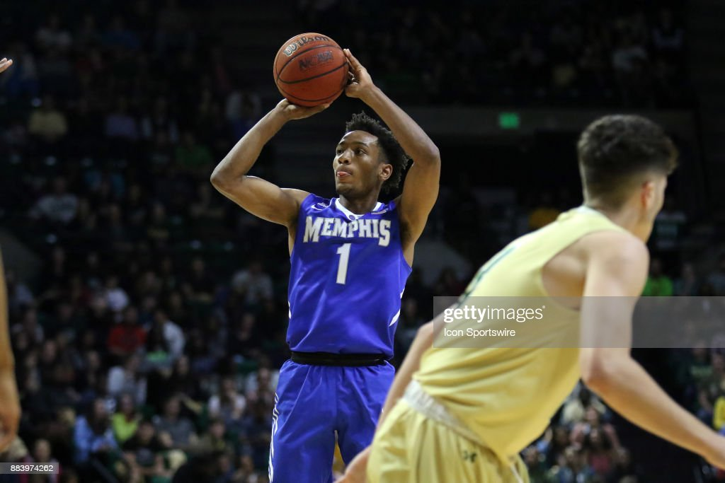 Memphis Tigers guard Jamal Johnson (1) takes a shot in the game between the Memphis Tigers and the UAB Blazers on November 30, 2017 at Bartow Arena in Birmingham, Alabama.
