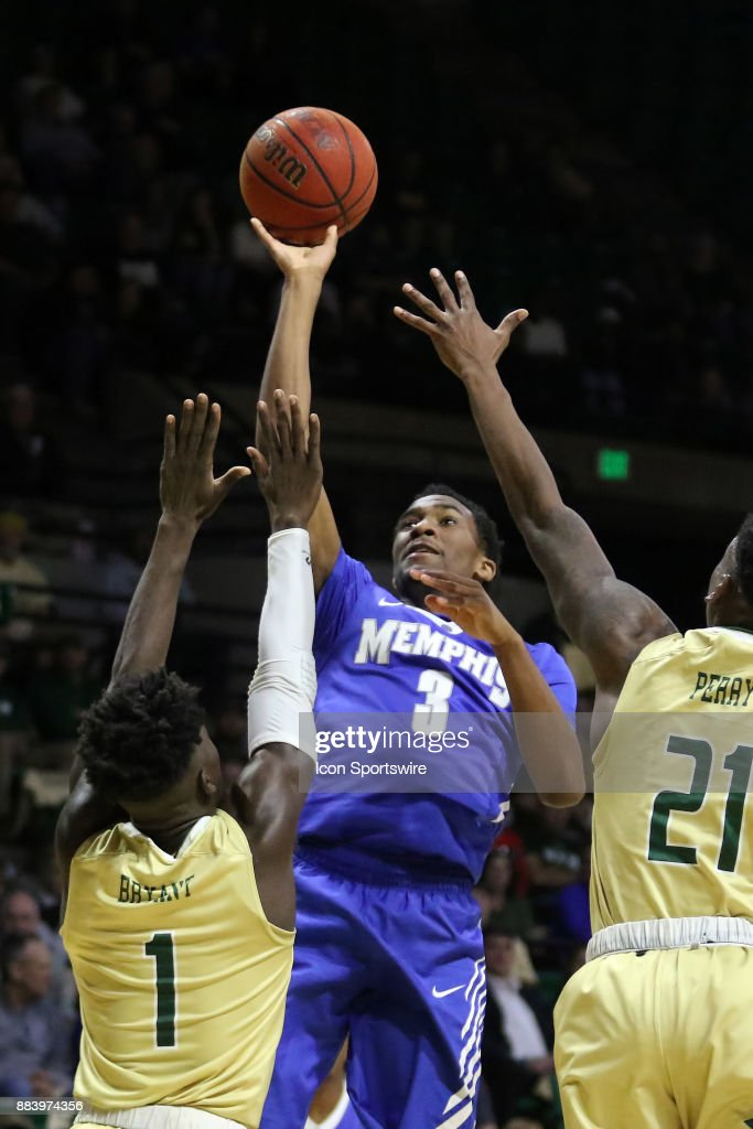 Memphis Tigers guard Jeremiah Martin (3) takes a shot over the the UAB defense in the game between the Memphis Tigers and the UAB Blazers on November 30, 2017 at Bartow Arena in Birmingham, Alabama.