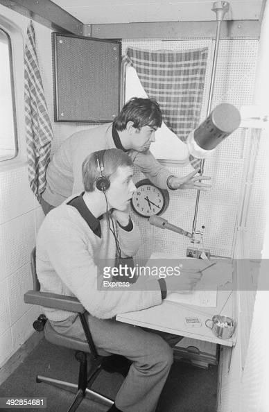 Men aboard the ship 'Caroline' broadcasting for a pirate independent radio station 1964