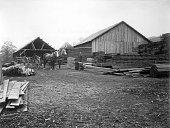 Men and horse carriage at lumberyard late 1880s
