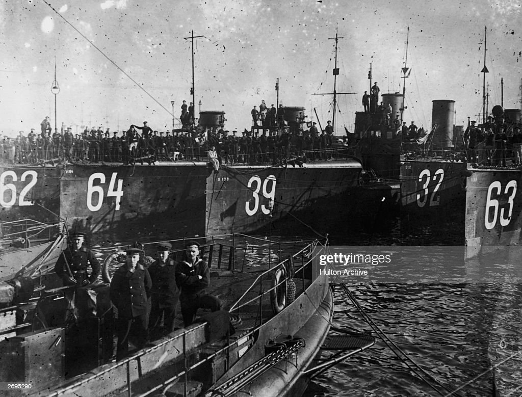 Men and ships of the German Torpedo Flotilla in the Kiel Canal in Germany.