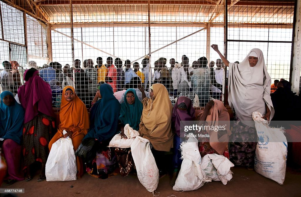 Men and women are separated in the food distribution centre at the Dadaab refugee camp Kenya July 15 2014