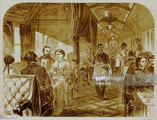 Men and women dine in a luxury Palace Hotel railway car while traveling with Union Pacific railway company 19th century USA Illustration by AR Waud