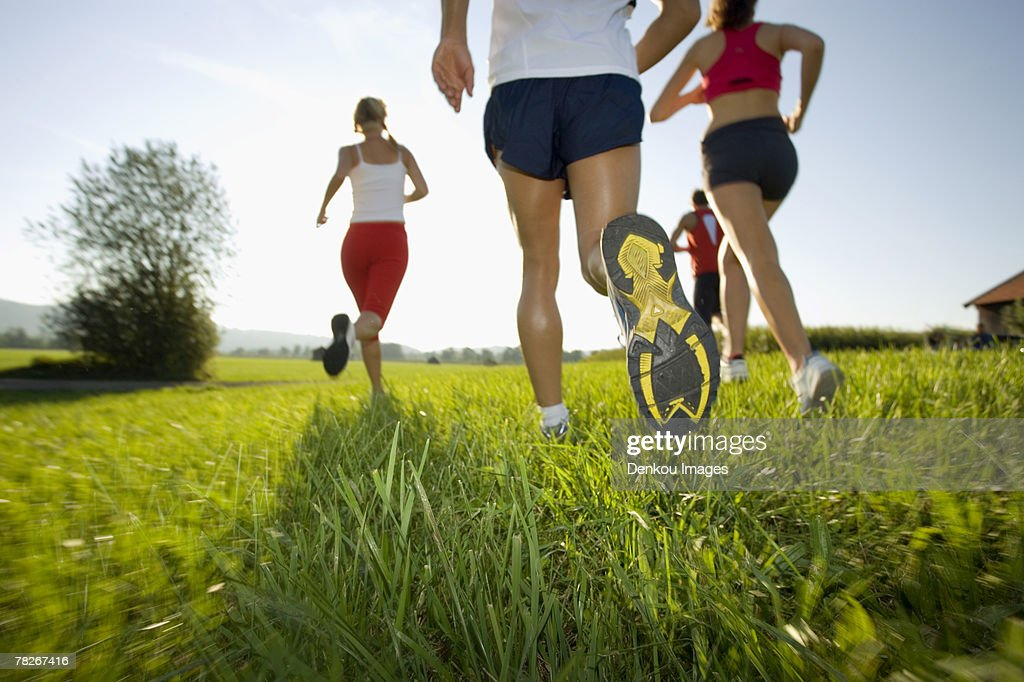 Men and women jogging. : Stock Photo