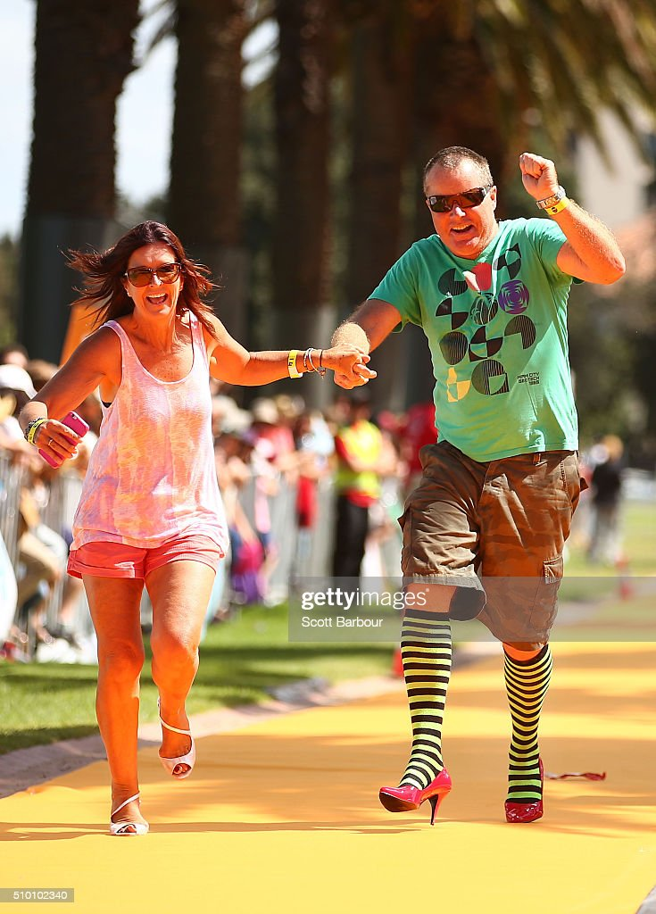 Men and women wearing high heeled shoes take part in a Guinness World Record attempt for the largest amount of people running in high heels on February 14, 2016 in Melbourne, Australia. The World's Largest High Heel Race 2016 raised funds for the The Warwick Cancer Foundation. The current record is 967 people, completed in Indiana, USA in 2010.
