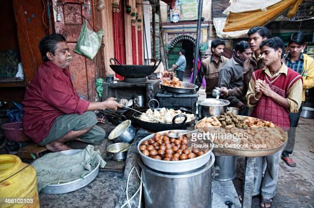 Men at a Pakora snack street stall
