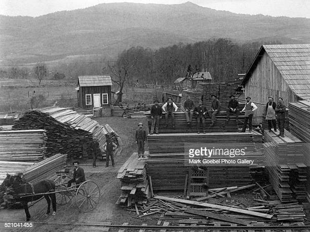 Men at lumberyard late 1880s