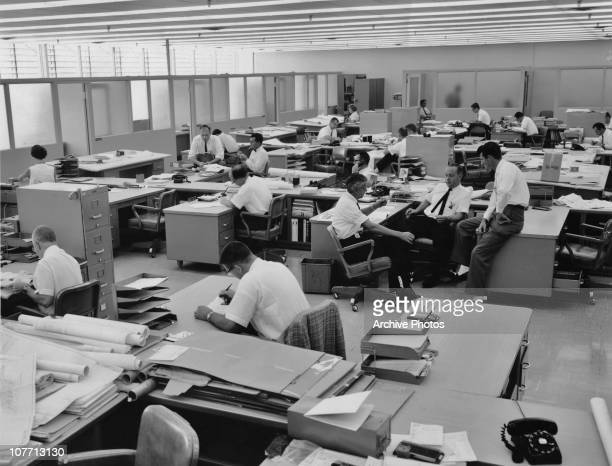 Men at work in a typical 1960's office
