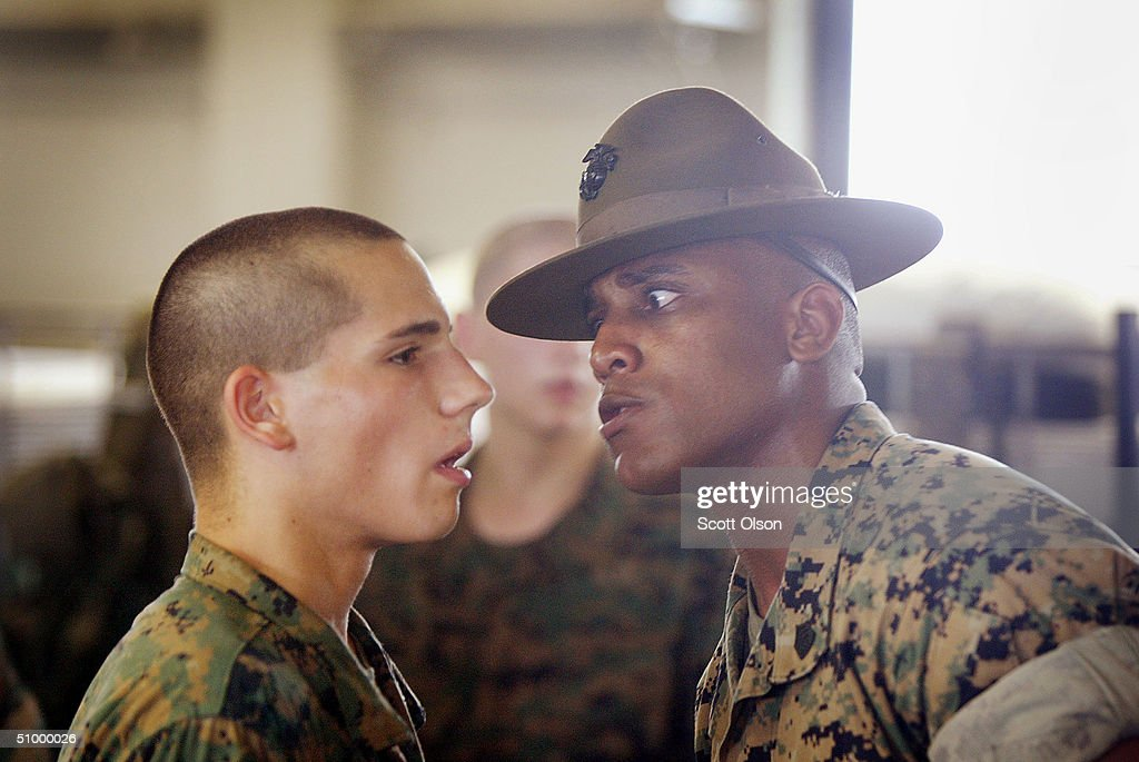 Men Become Marines at Parris Island : Stock Photo