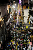 Men carry a 25metre tall wood and papiermache statues called 'Giglio' during the annual Festa dei Gigli on June 27 2016 in Nola Italy When St Paolini...