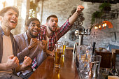 Men cheering for football team and drinking beer in sport bar