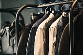 Men clothing on a rack - closeup photo