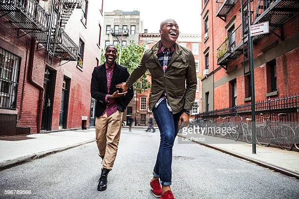 Men couple having fun in New York