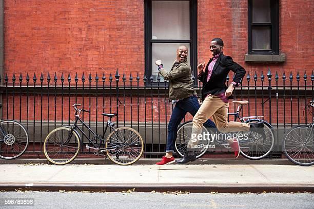 Men couple having fun in New York