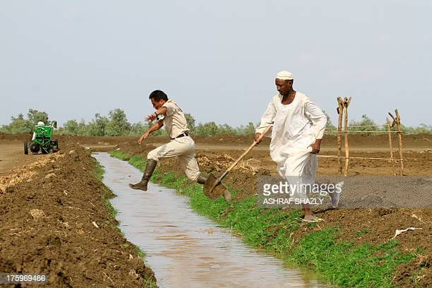 TIMBERLAKE Men cross an irrigation channel created as part of the Japanesebacked Gezira rice programme on July 25 2013 in Wad Medani south of the...